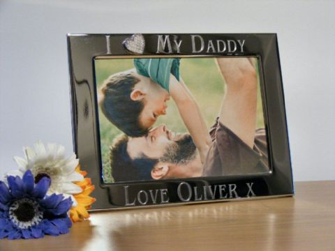 Personalised Silver Heart Photo Frame I Love My Daddy Fathers Day Gift